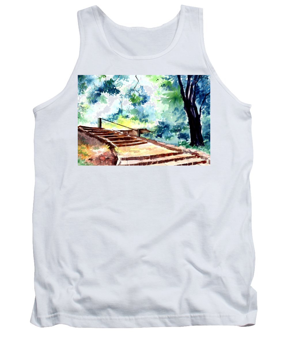Landscape Tank Top featuring the painting Steps To Eternity by Anil Nene