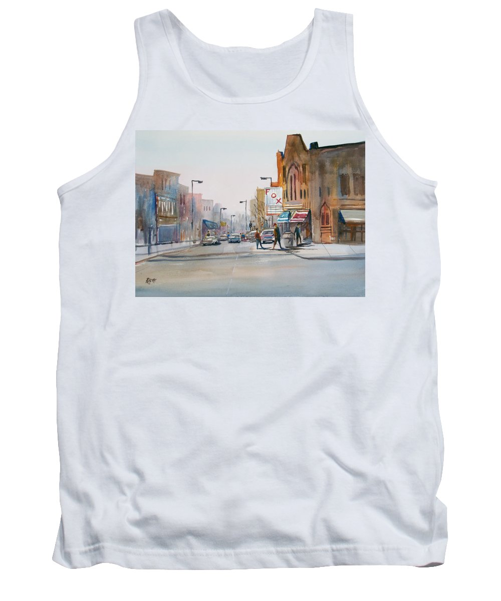 Watercolor Tank Top featuring the painting Steven's Point - Downtown by Ryan Radke
