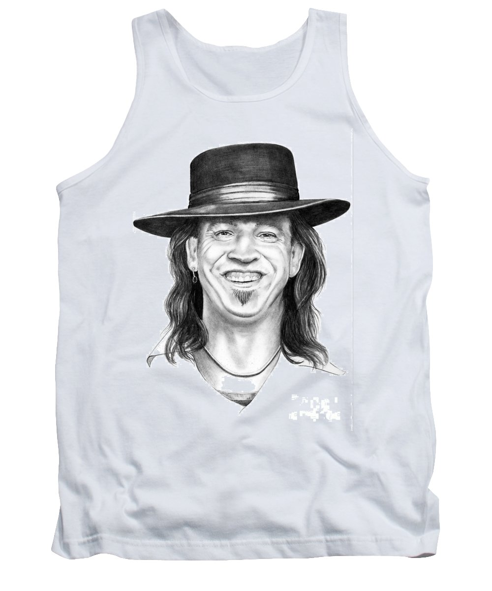 Stevie Ray Vaughn Tank Top featuring the drawing Stevie Ray Vaughn by Murphy Elliott