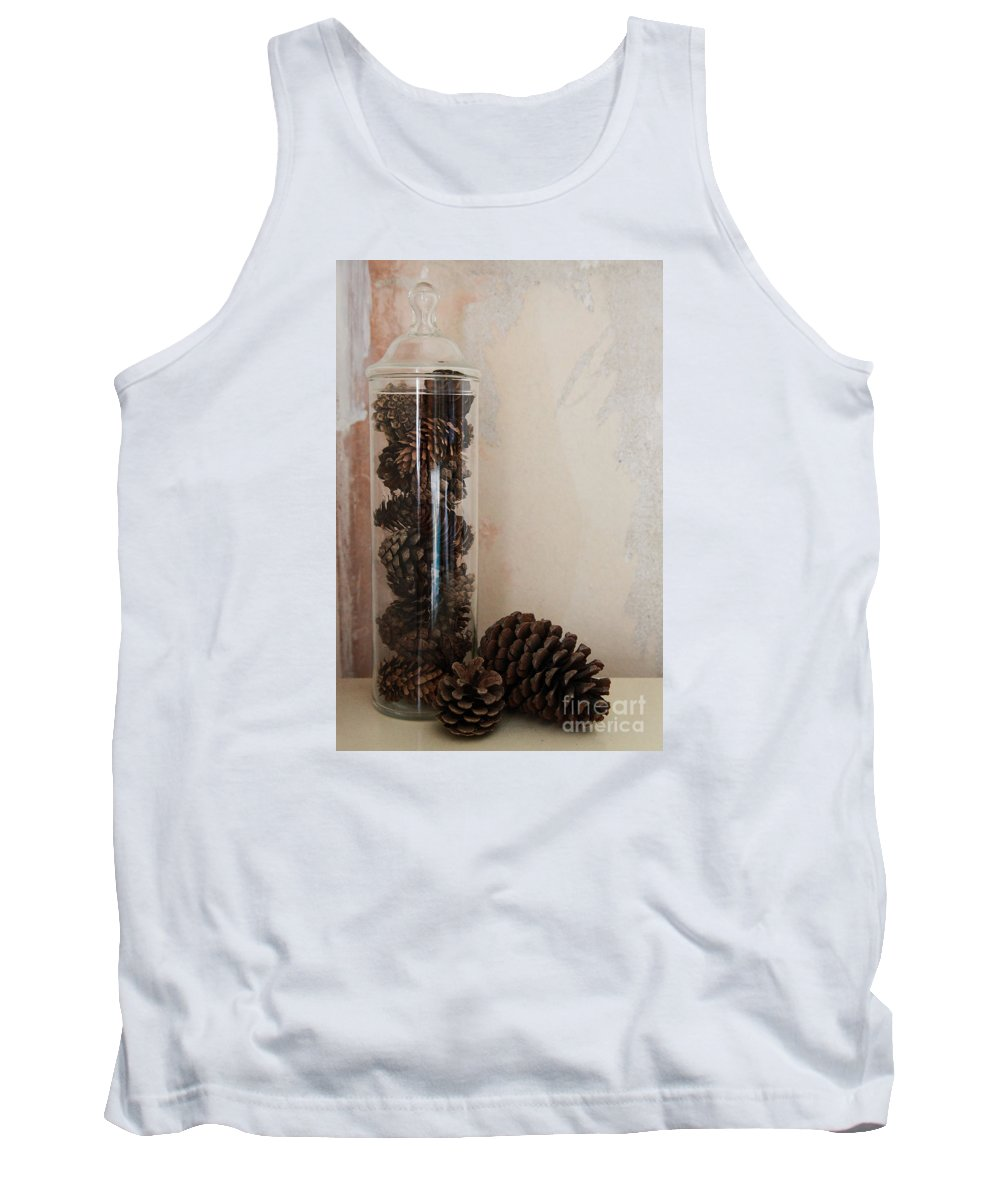 Still Life Tank Top featuring the photograph Still Life Of A Glass Jar Of Pine Cones by Jacqui Hall