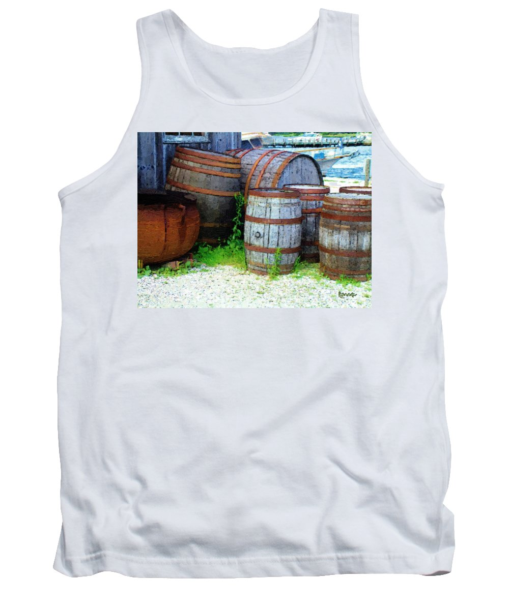 Antique Tank Top featuring the painting Still Life With Barrels by RC DeWinter