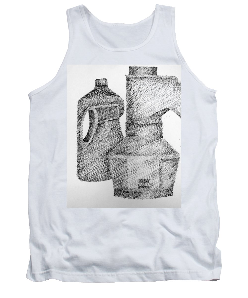 Still Life Tank Top featuring the drawing Still Life With Popcorn Maker And Laundry Soap Bottle by Michelle Calkins