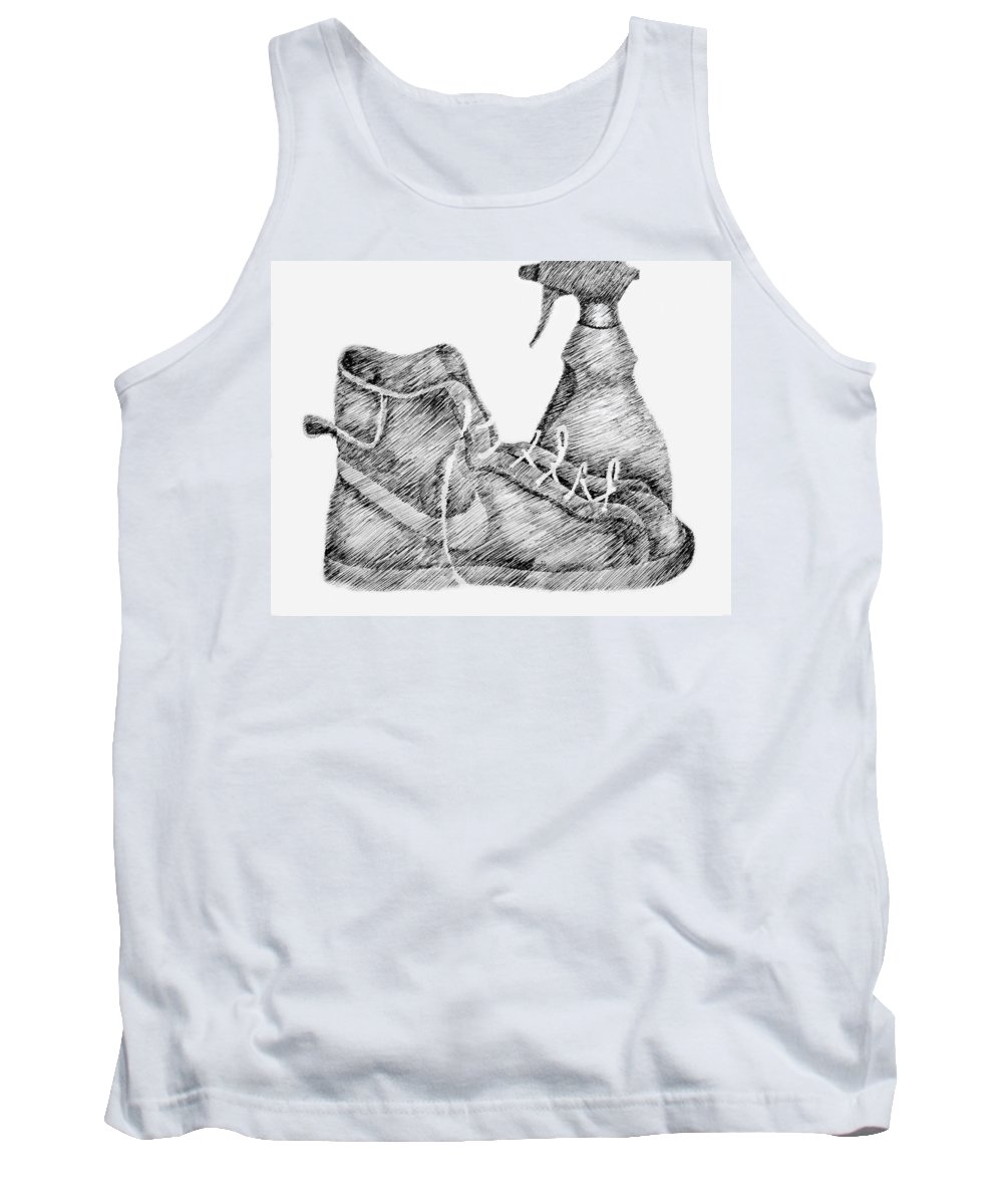 Pen Tank Top featuring the drawing Still Life With Shoe And Spray Bottle by Michelle Calkins