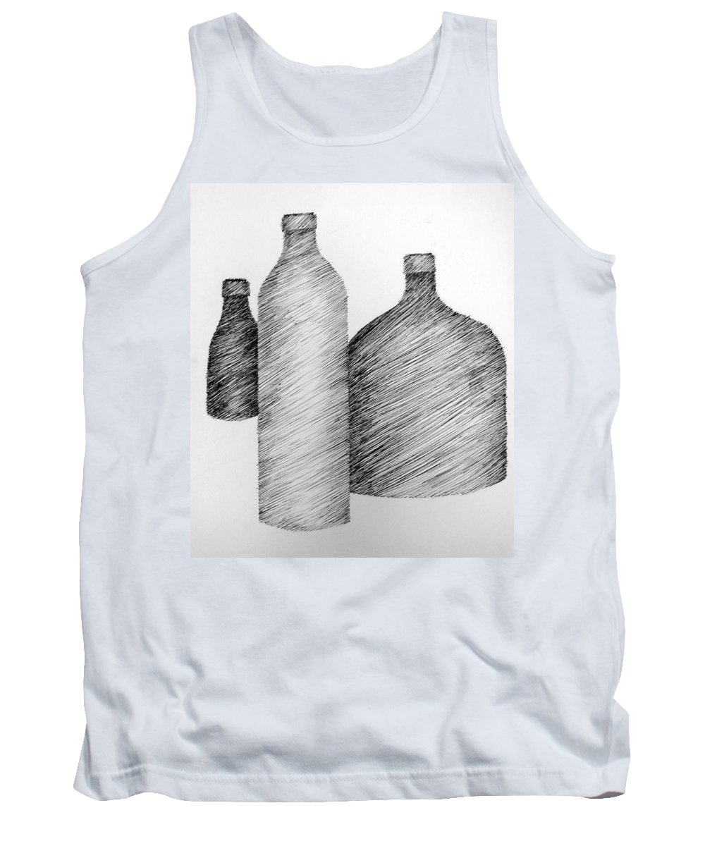 Still Life Tank Top featuring the drawing Still Life With Three Bottles by Michelle Calkins