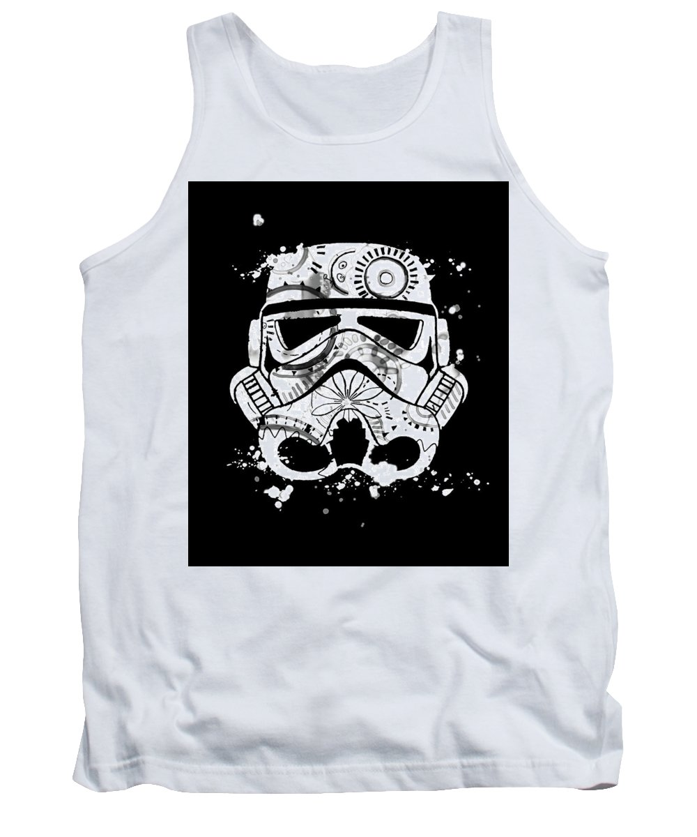 Star Wars Print Tank Top featuring the digital art Stormtrooper Mask White Black 5 by Del Art