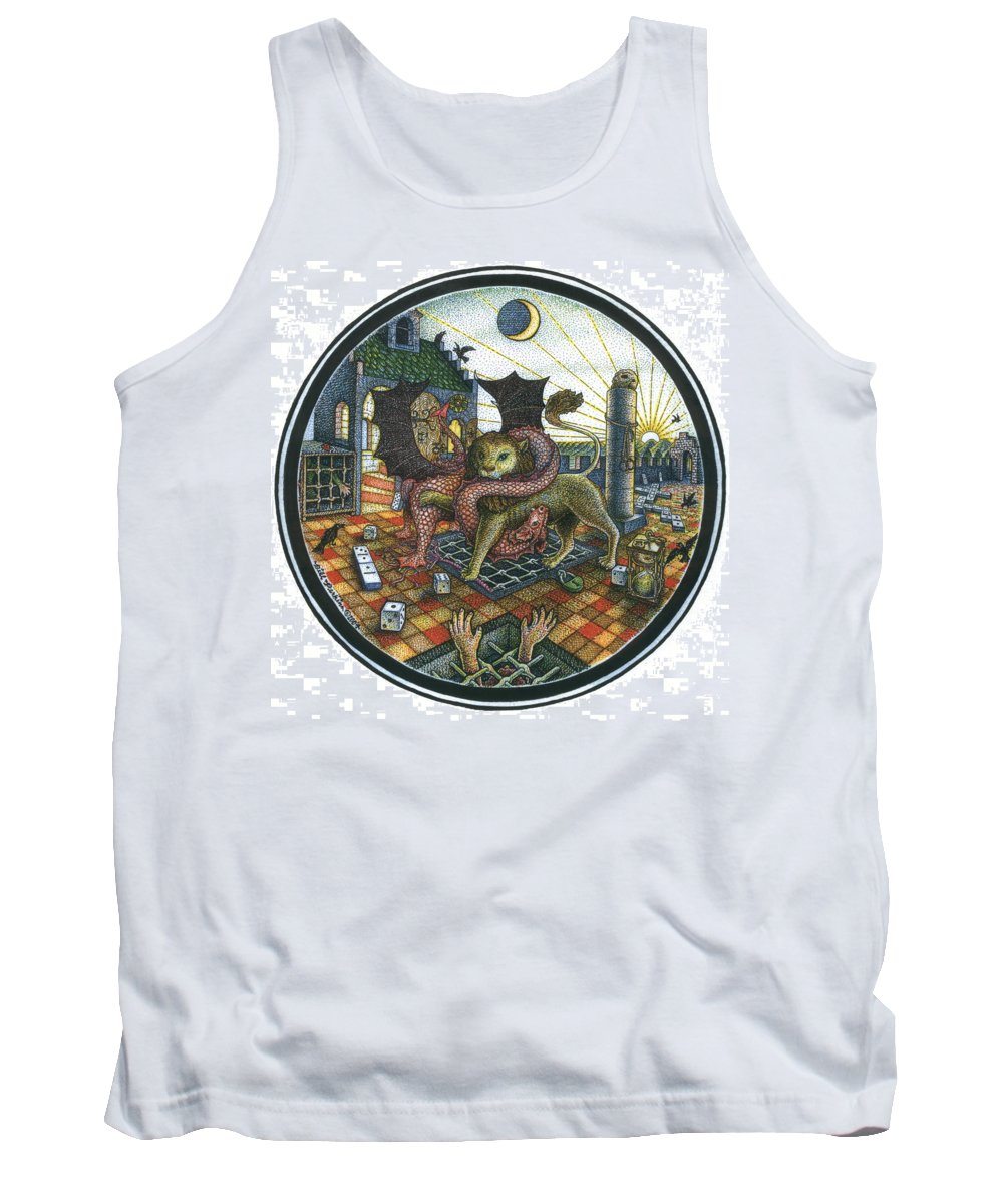 Dragon Tank Top featuring the drawing Strange Reverie by Bill Perkins