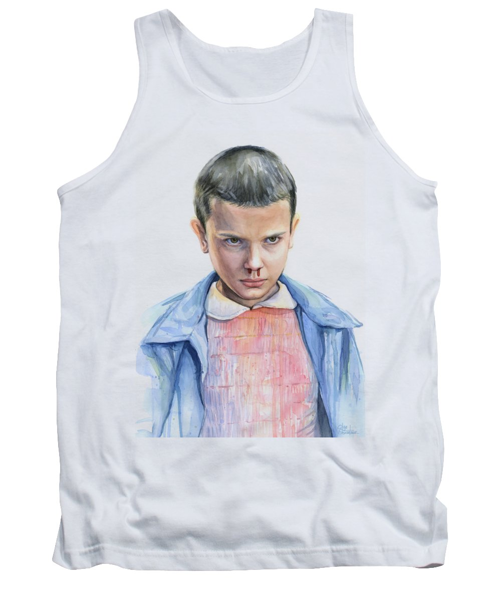 Strager Things Tank Top featuring the painting Stranger Things Eleven Portrait by Olga Shvartsur