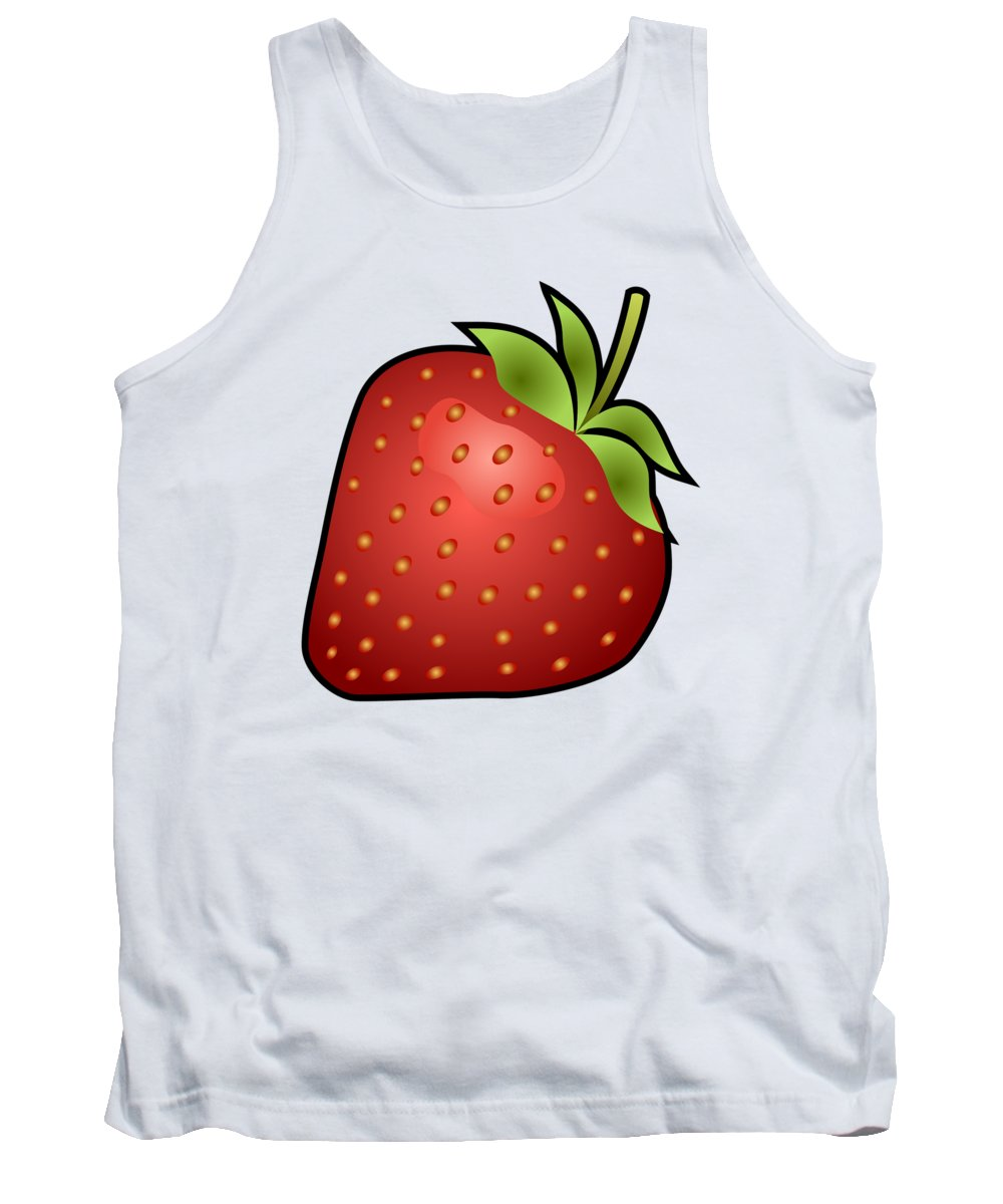 3d Tank Top featuring the digital art Strawberry Fruit Outlined by Miroslav Nemecek