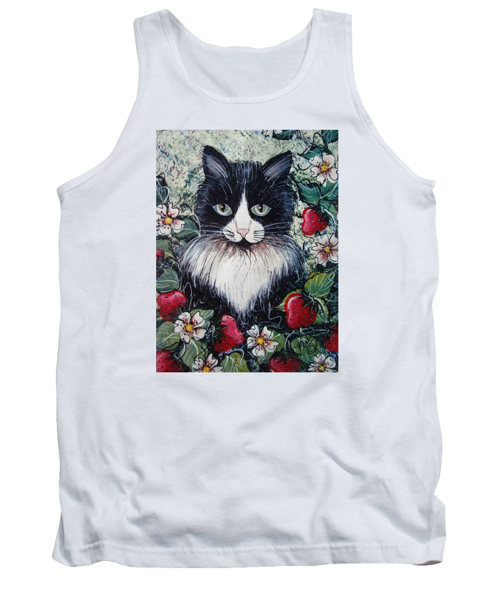 Cat Tank Top featuring the painting Strawberry Lover Cat by Natalie Holland