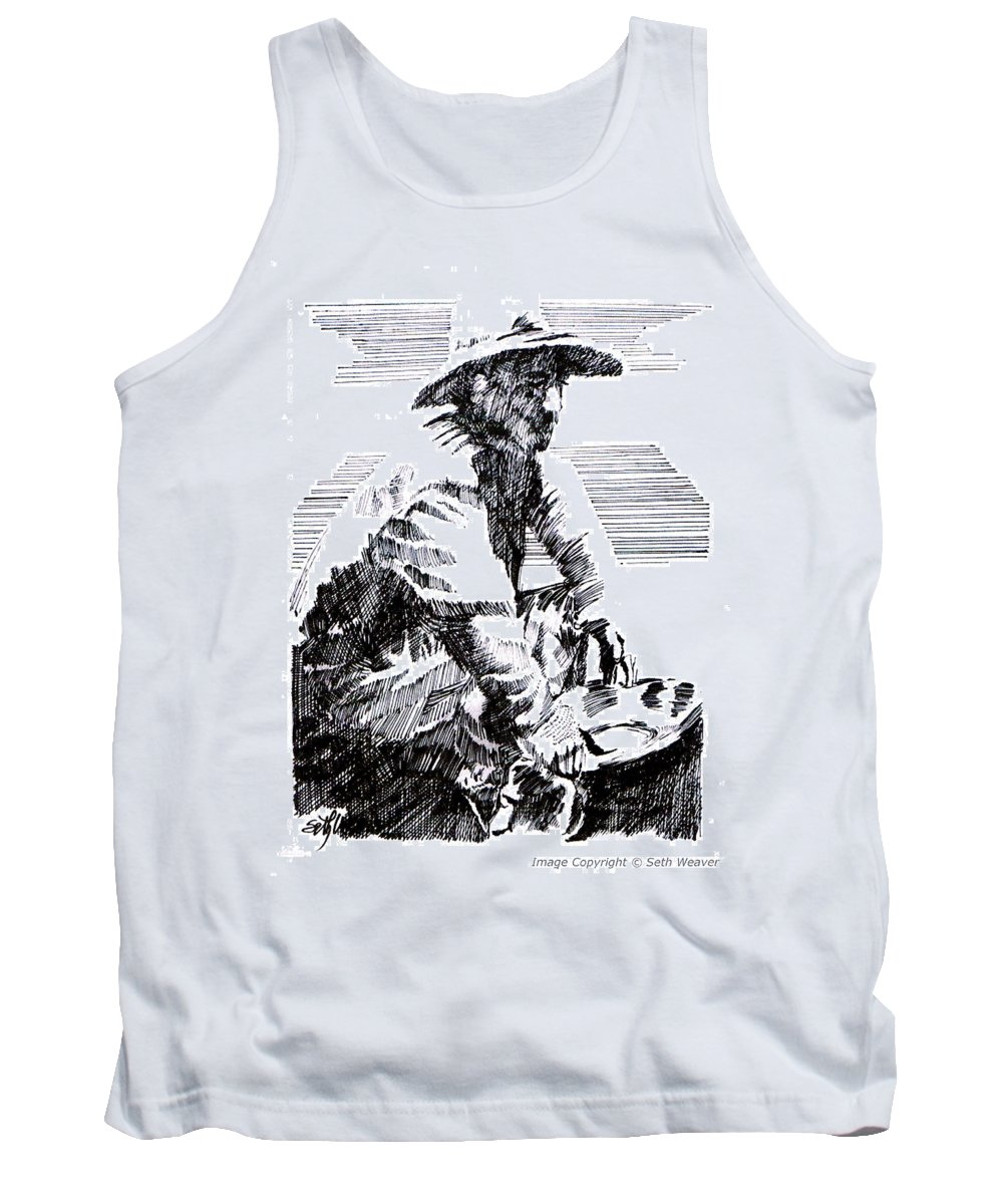 1850's Old West Tank Top featuring the drawing Striking It Rich by Seth Weaver