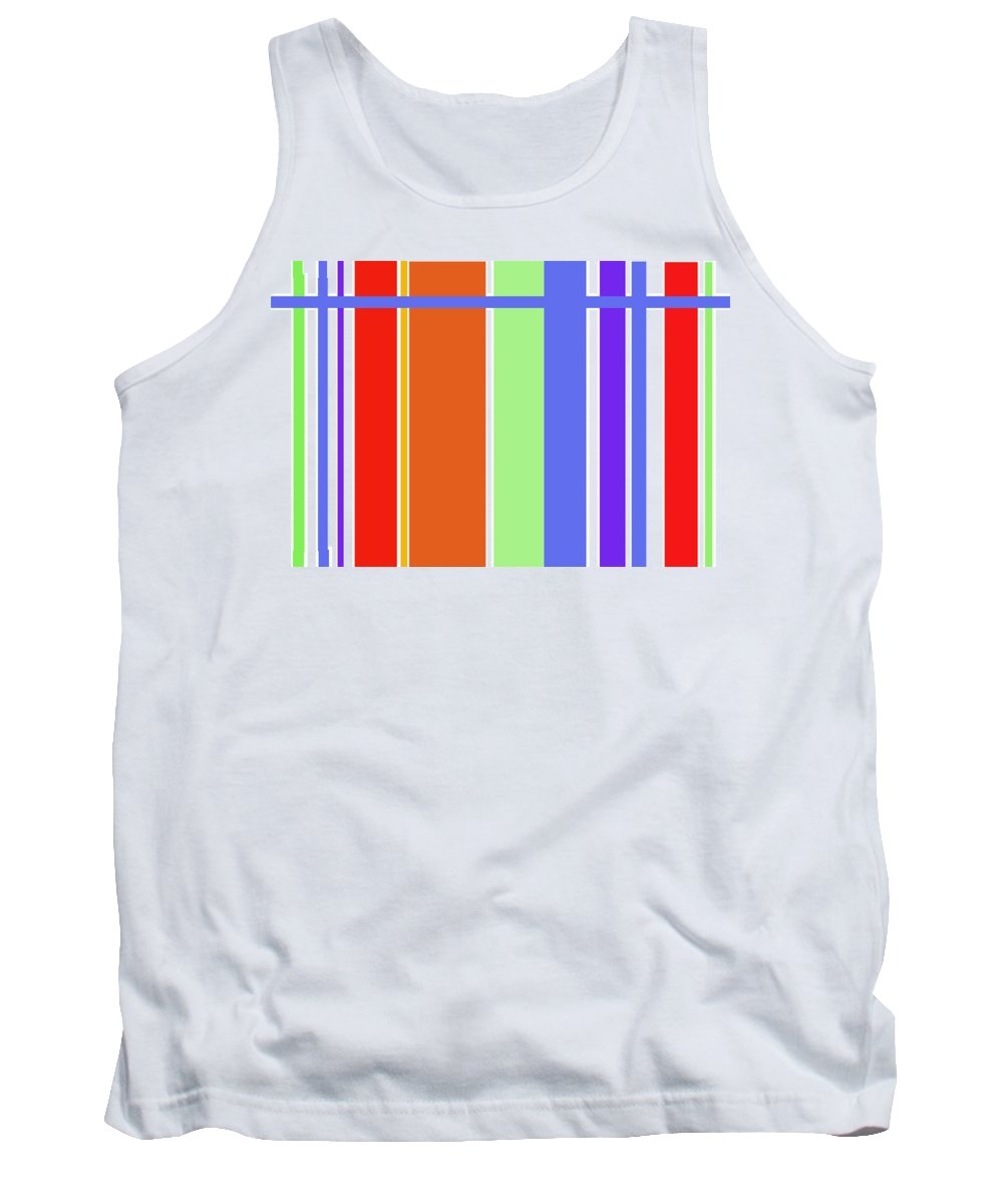 Patterns Abstract Reds Blues Tank Top featuring the digital art Stripes 101 by Suzanne Udell Levinger