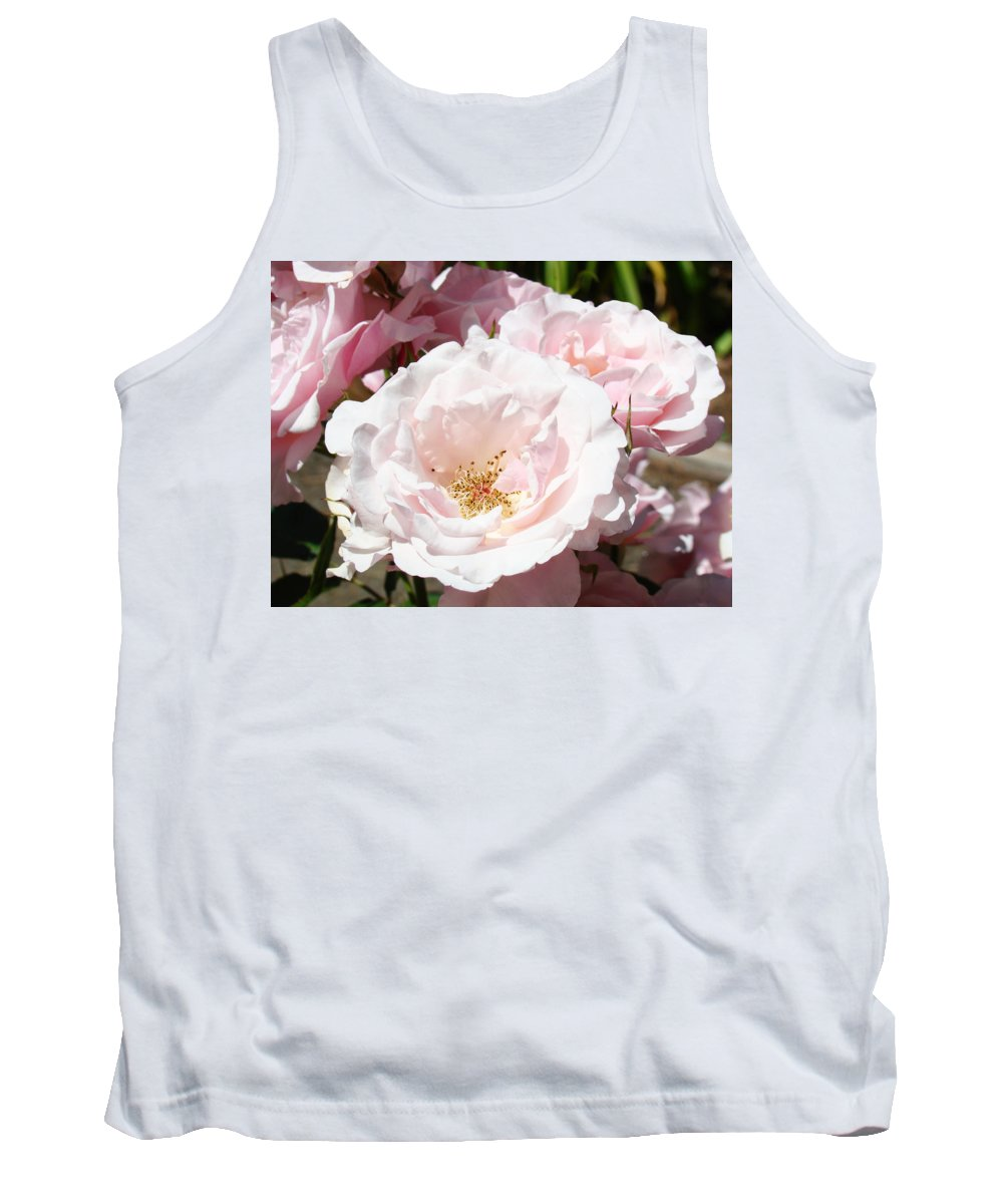 Rose Tank Top featuring the photograph Summer Rose Garden Pink Flowers Baslee Troutman by Baslee Troutman