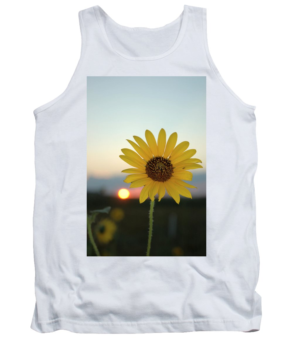 Sunset Tank Top featuring the photograph Sun Flower At Sunset by Jerry McElroy