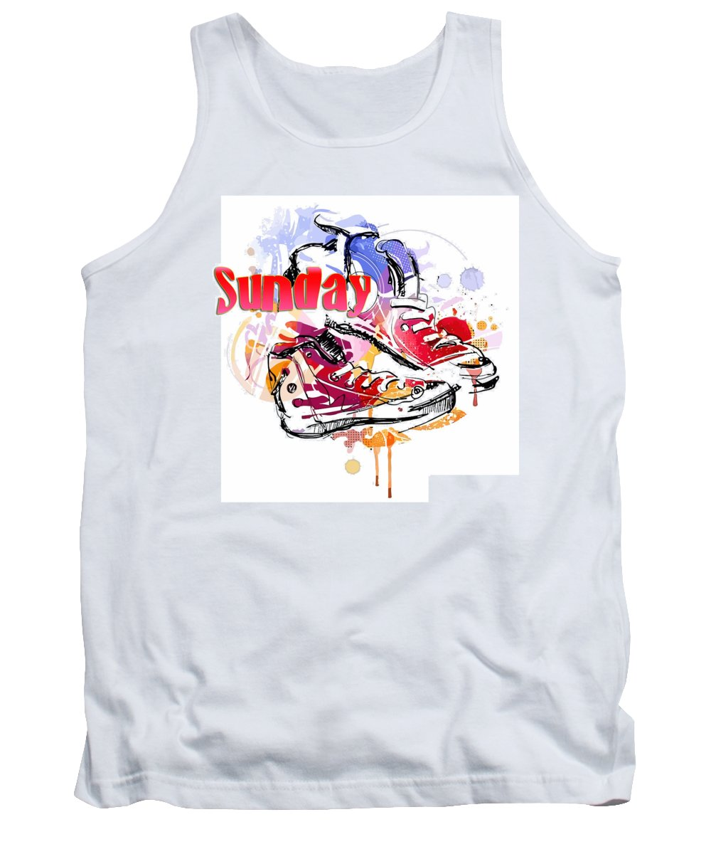 Comics Tank Top featuring the digital art Sunday by Don Kuing