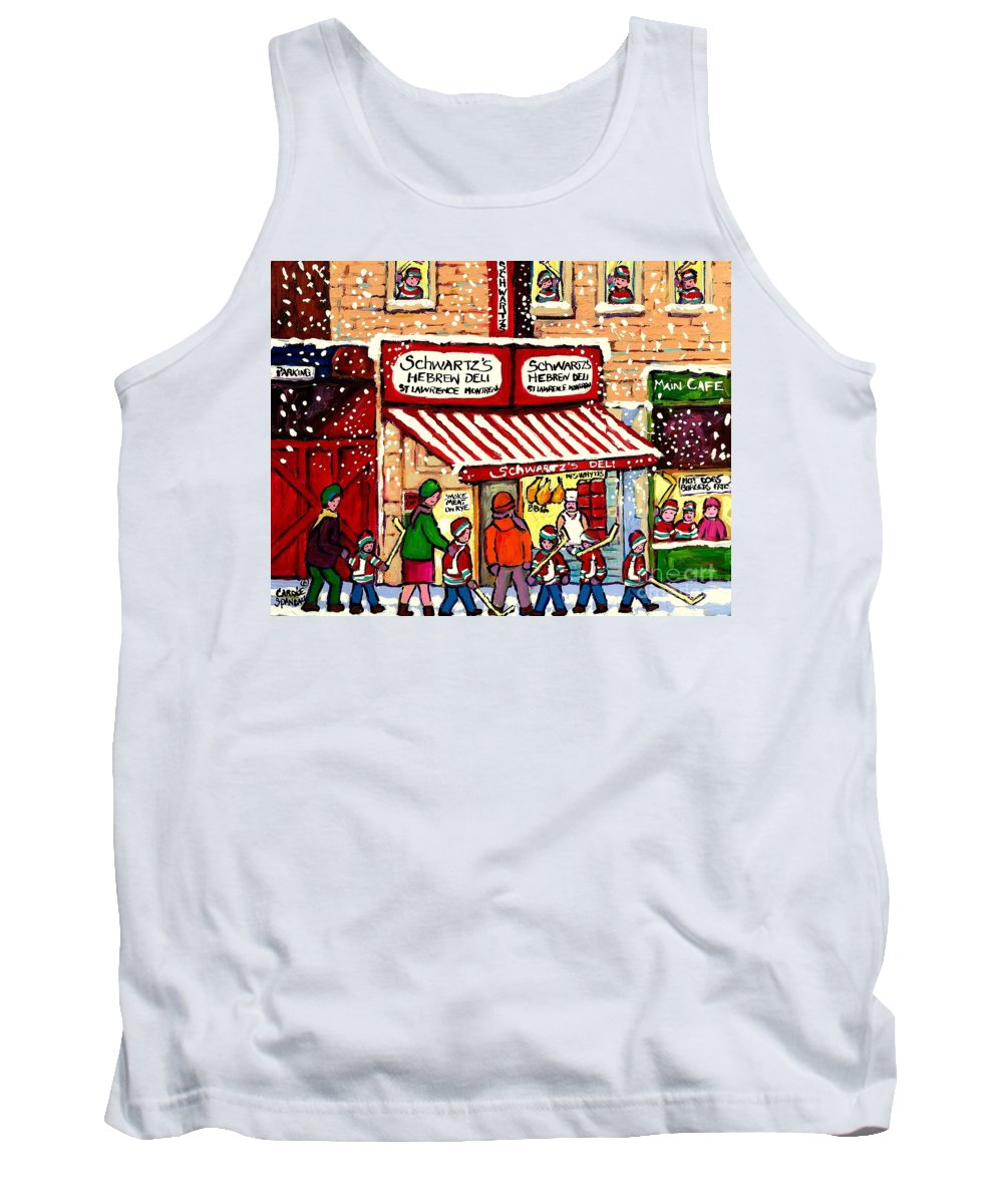 Montreal Tank Top featuring the painting Sunday Lineup At The Deli by Carole Spandau