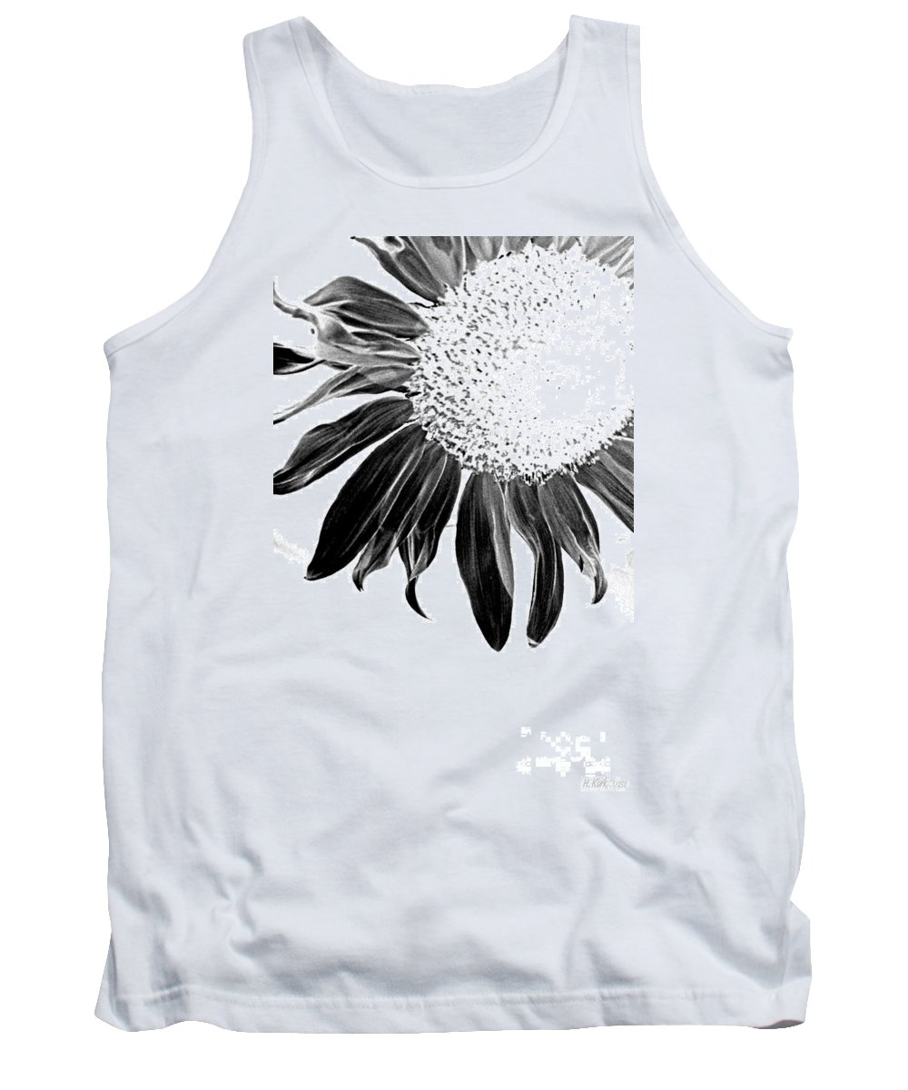 Sunflower Petal Seed Leaf Center Flower Floral Botanical Corner Plant Sun Black White Graphic Digital Light Tank Top featuring the photograph Sunflower In Corner Bw Threshold by Heather Kirk