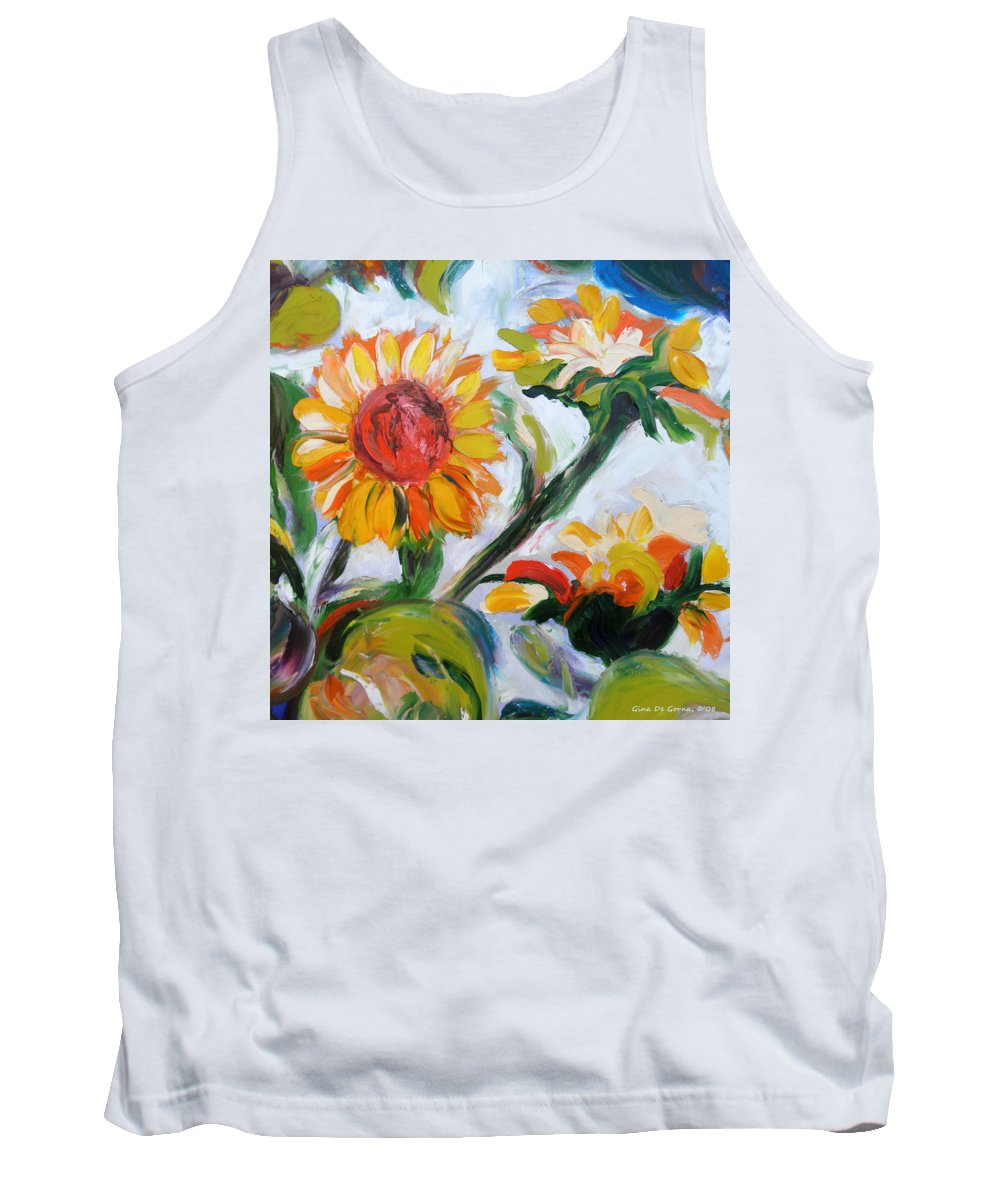 Flowers Tank Top featuring the painting Sunflowers 5 by Gina De Gorna