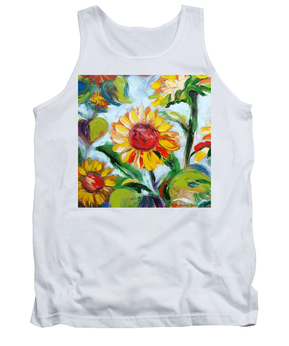 Flowers Tank Top featuring the painting Sunflowers 6 by Gina De Gorna