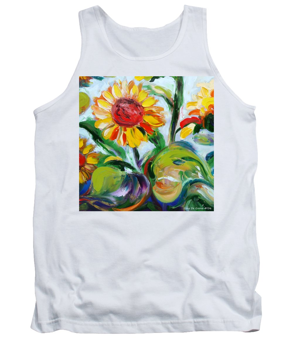 Flowers Tank Top featuring the painting Sunflowers 9 by Gina De Gorna