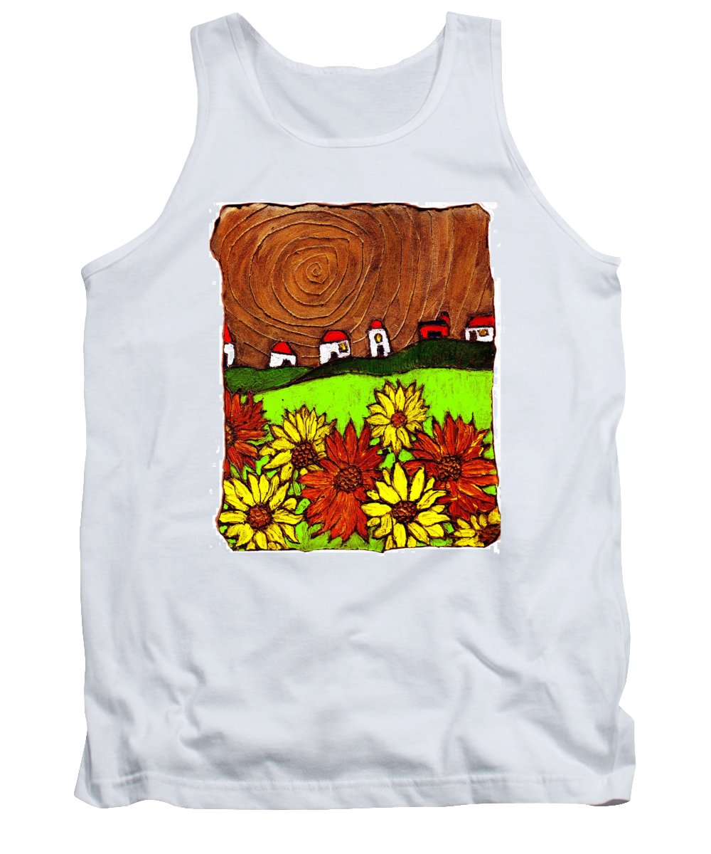 Flowers Tank Top featuring the painting Sunflowers And Fields by Wayne Potrafka