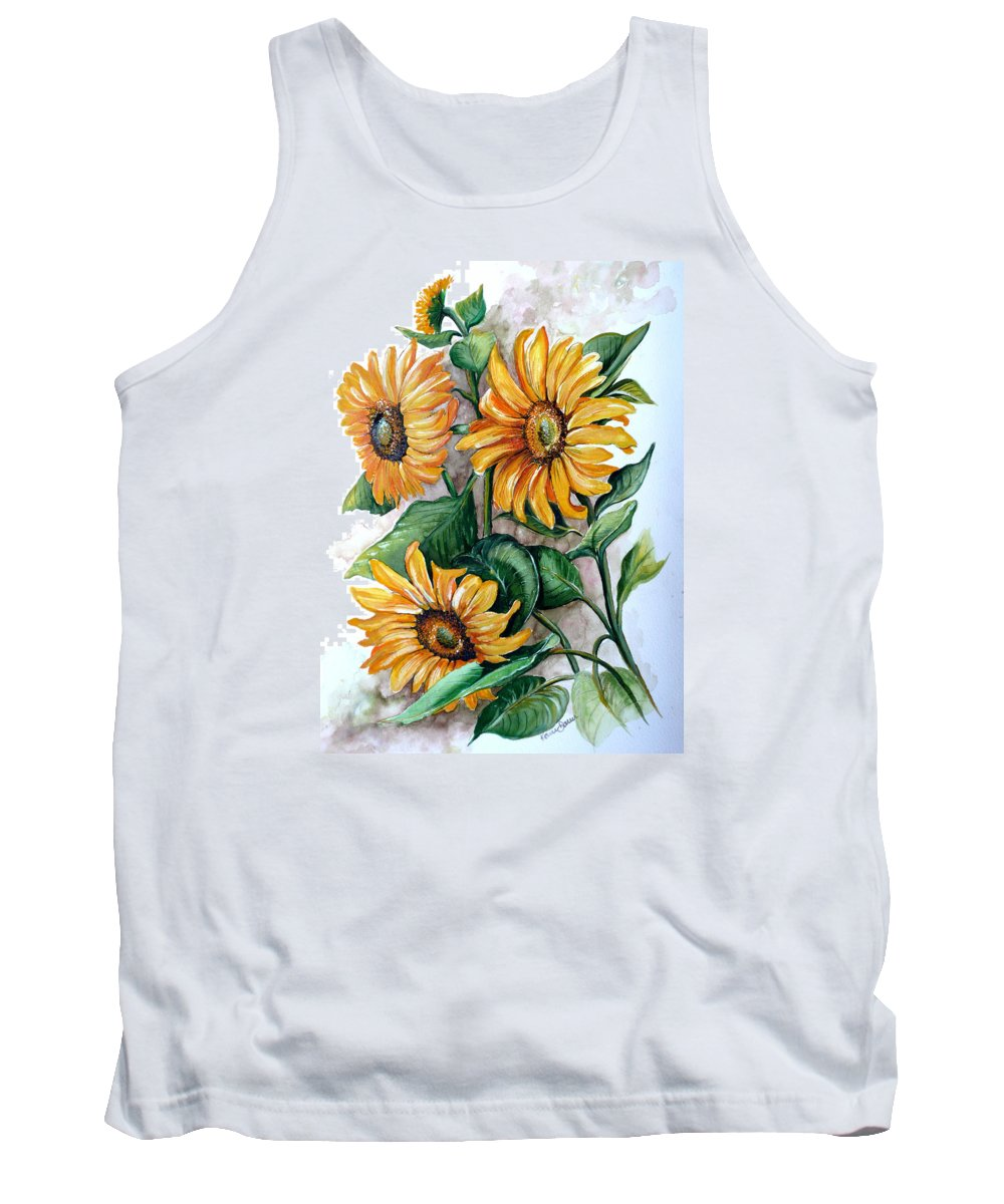 Flower Paintings Yellow Flower Paintings Floral Paintings Botanical Paintings  Sun Flower Paintings Greeting Card Paintings Canvas Paintings Prints Paintings  Tank Top featuring the painting Sunflowers by Karin Dawn Kelshall- Best