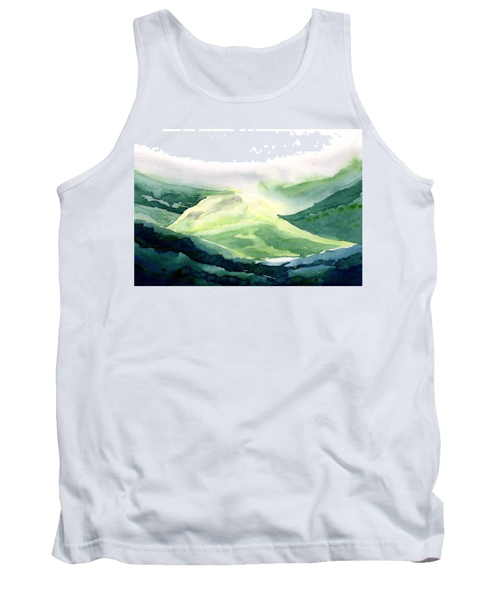 Landscape Tank Top featuring the painting Sunlit Mountain by Anil Nene