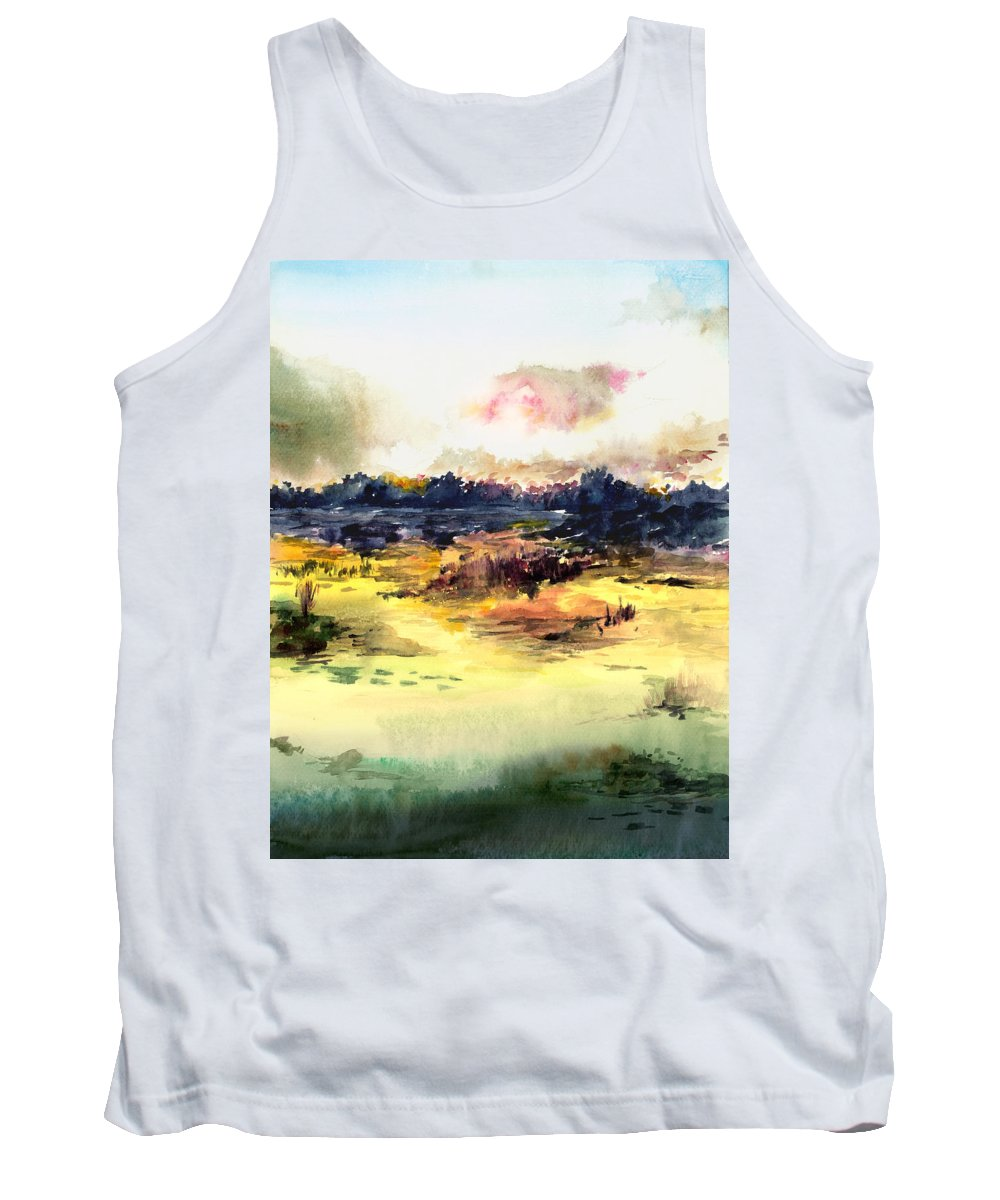 Landscape Water Color Sky Sunrise Water Watercolor Digital Mixed Media Tank Top featuring the painting Sunrise by Anil Nene