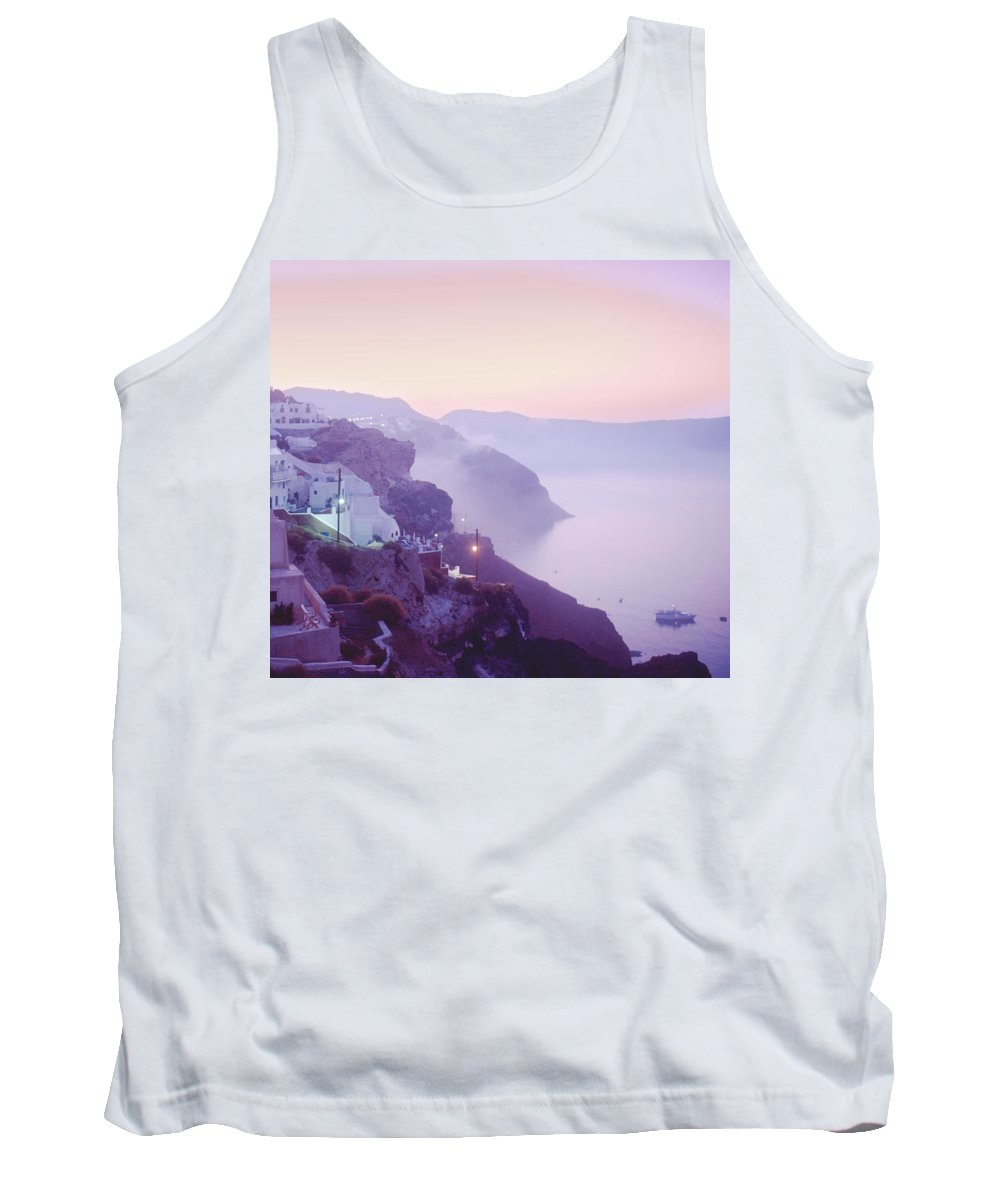 Oia Tank Top featuring the photograph Sunrise In Oia by Yuri Lev