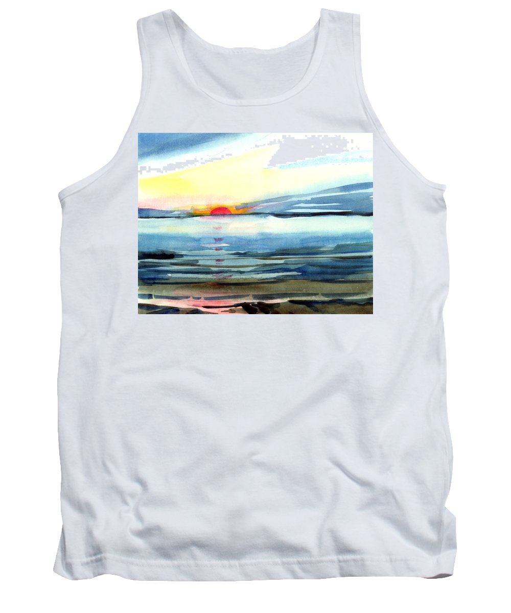 Landscape Seascape Ocean Water Watercolor Sunset Tank Top featuring the painting Sunset by Anil Nene