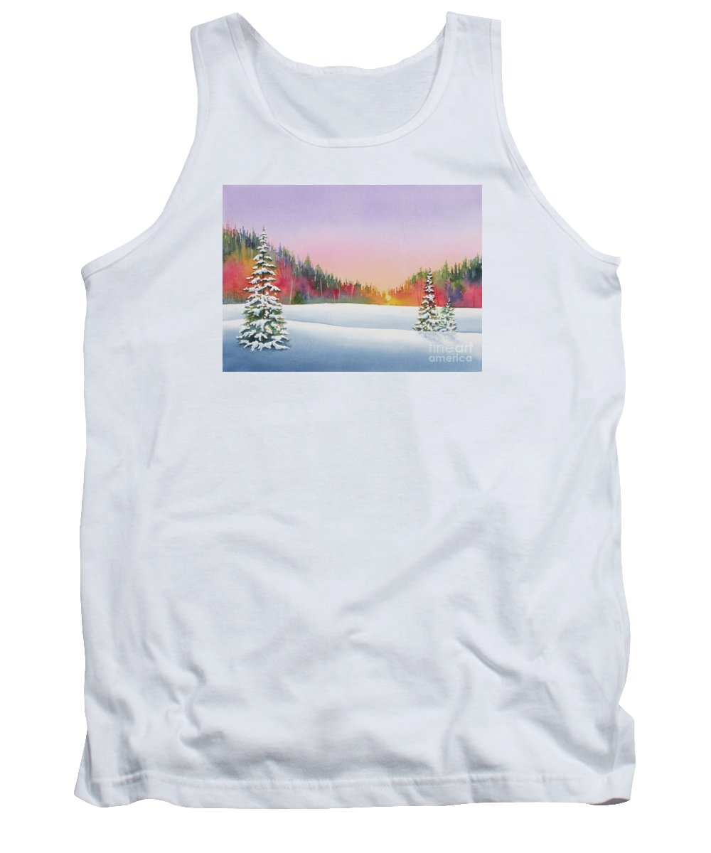 Landscape Tank Top featuring the painting Sunset In The Pines by Deborah Ronglien