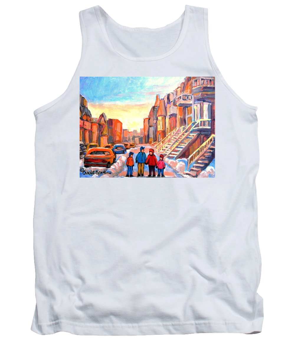 Sunset On Hotel De Ville Montreal Tank Top featuring the painting Sunset On Hotel De Ville Street Montreal by Carole Spandau