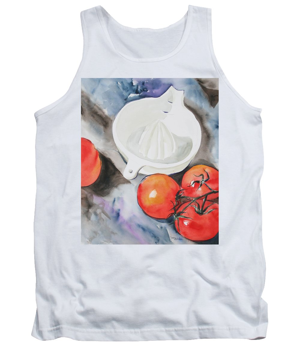 Tomatoes Tank Top featuring the painting Sunshine On The Vine by Jean Blackmer