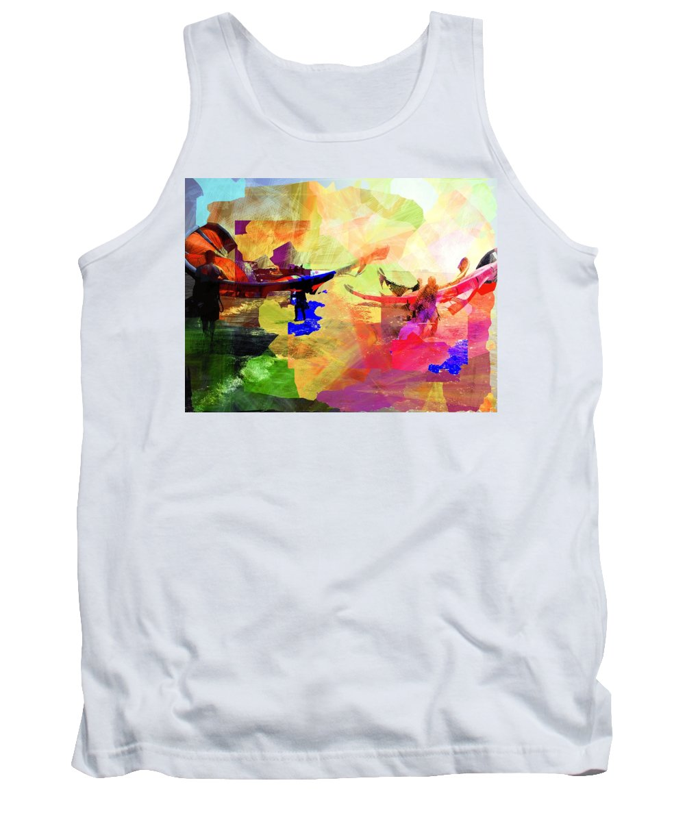 Seaside Tank Top featuring the digital art Surfers by Agnes V