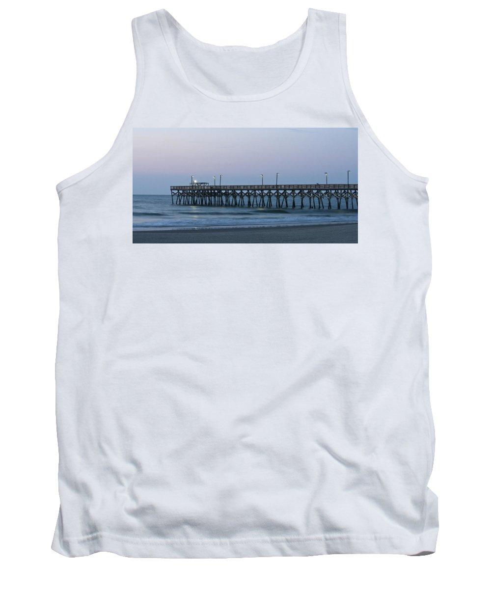 Surfside Beach Tank Top featuring the photograph Surfside Beach Pier At Dawn by Teresa Mucha
