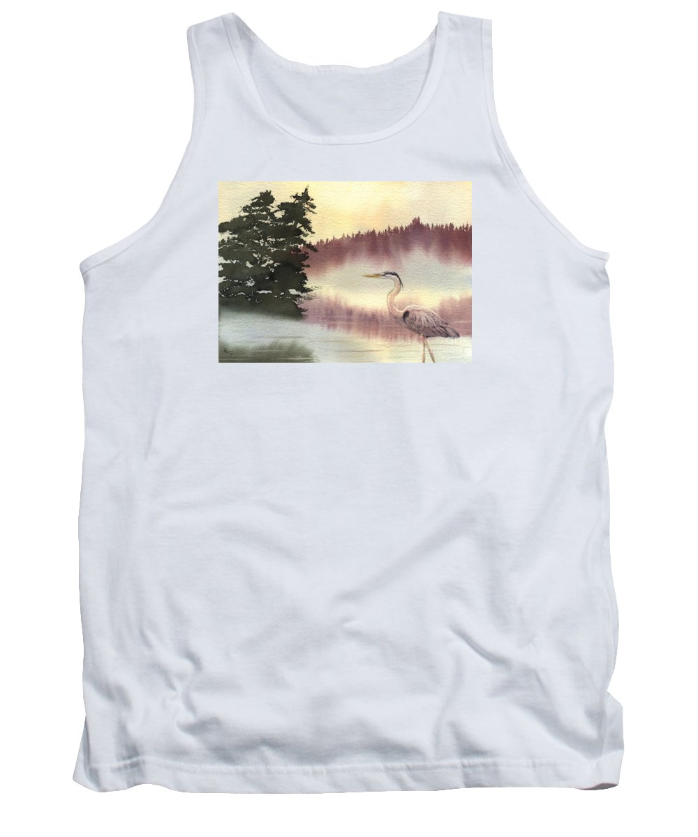 Heron Tank Top featuring the painting Surveyor Of The Morning by Lynn Quinn