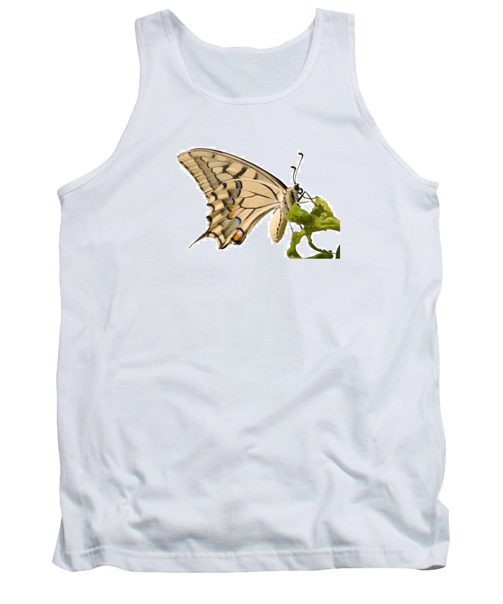 Butterfly Tank Top featuring the photograph Swallowtail Butterfly Vector Isolated by Taiche Acrylic Art