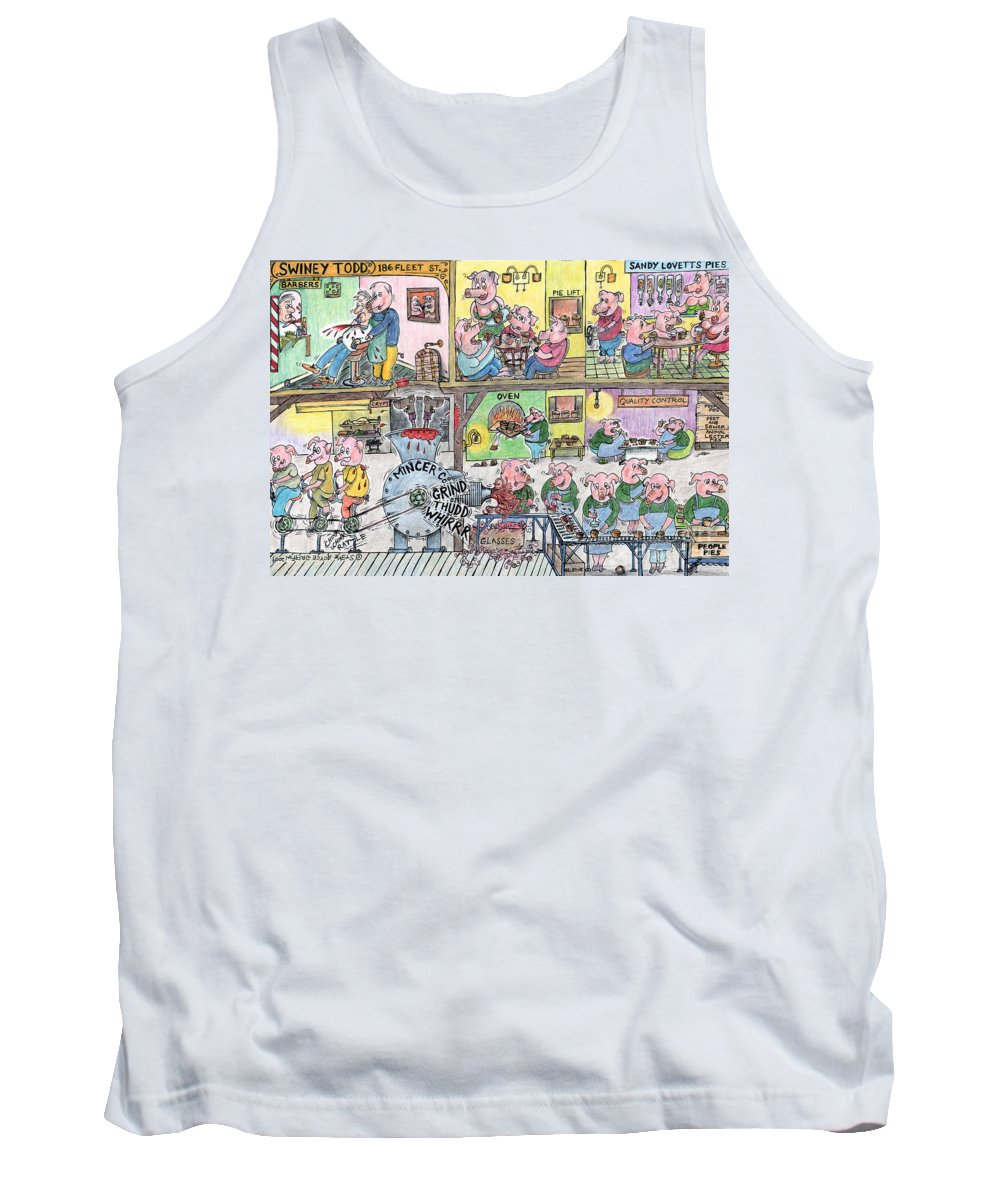 Pig Art Tank Top featuring the painting Swiney Todd by Steve Royce Griffin