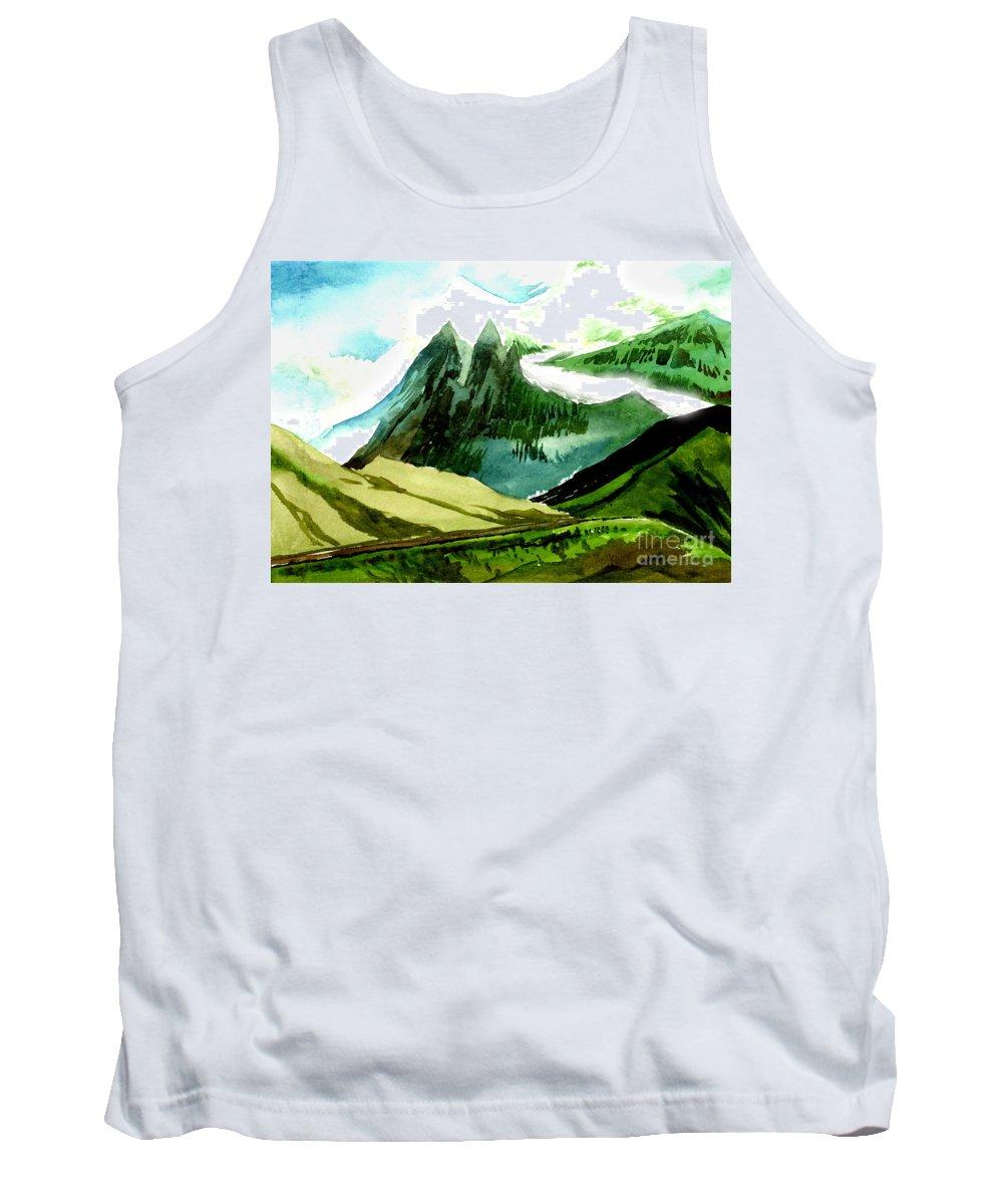 Landscape Tank Top featuring the painting Switzerland by Anil Nene