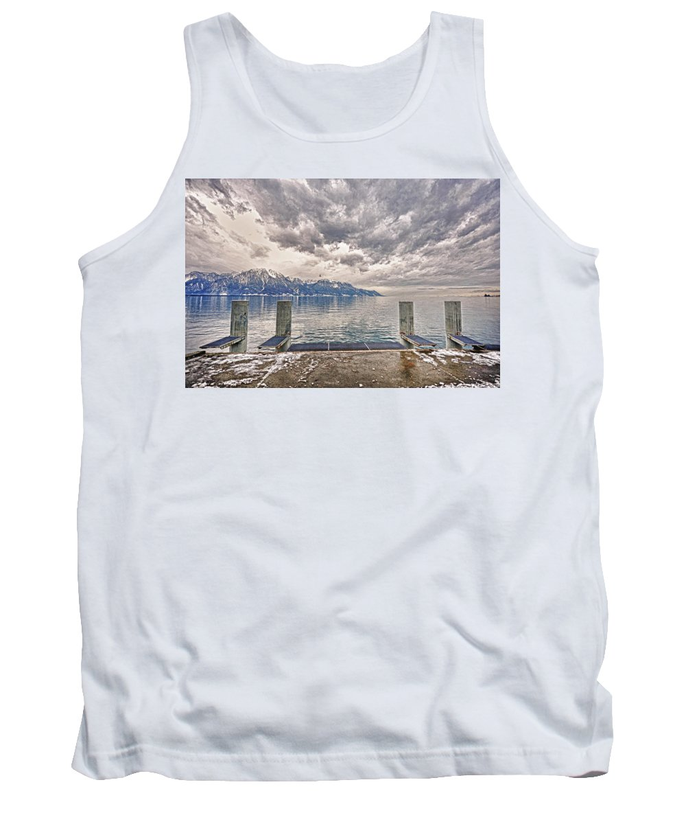 Switzerland Tank Top featuring the photograph Switzerland, Montreux, Dock On The Lake. by Adriano Bussi