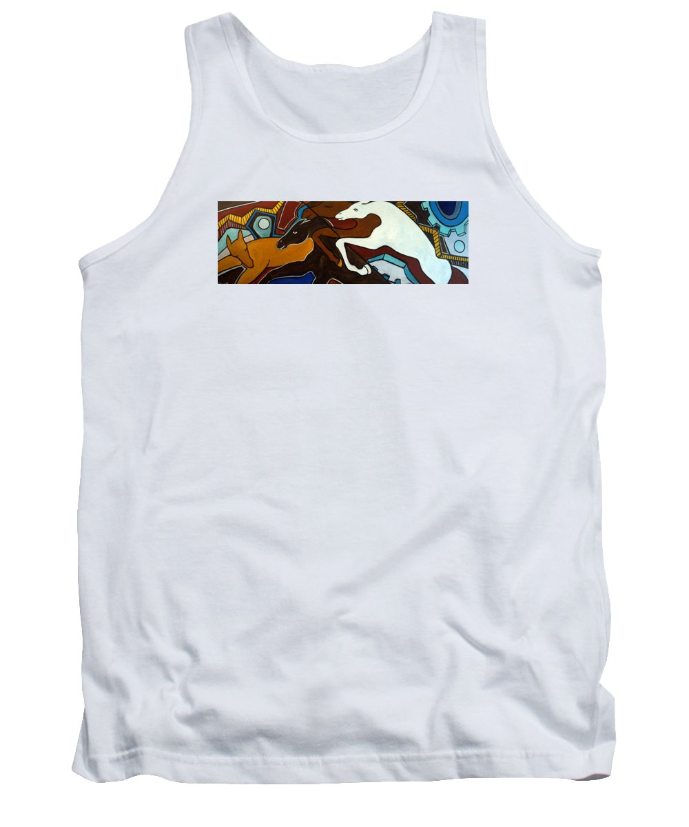 Horse Abstract Tank Top featuring the painting Taffy Horses by Valerie Vescovi