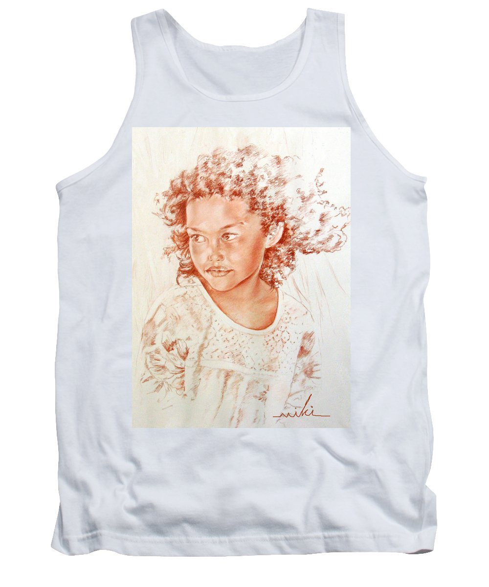 Drawing Persons Tank Top featuring the painting Tahitian Girl by Miki De Goodaboom