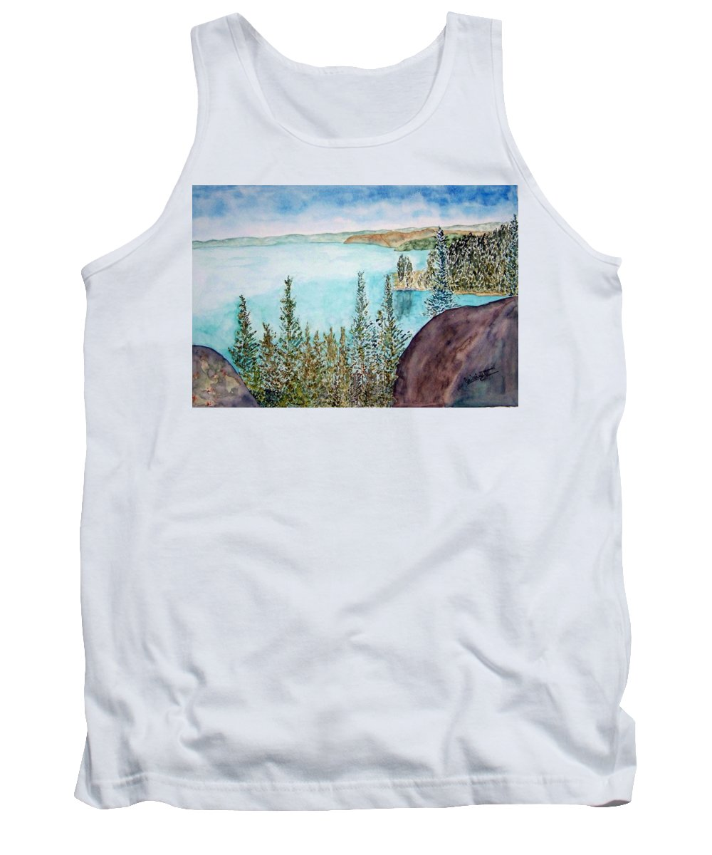 Tahoe Tank Top featuring the painting Tahoe Remembered by Larry Wright