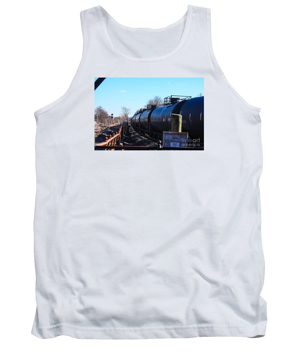 These Are Tanker Cars Being Pulled By Csx Engines By The Bound Brook Train Station In New Jersey Tank Top featuring the photograph Tanker Cars Pulled By Csx Engines by William Rogers
