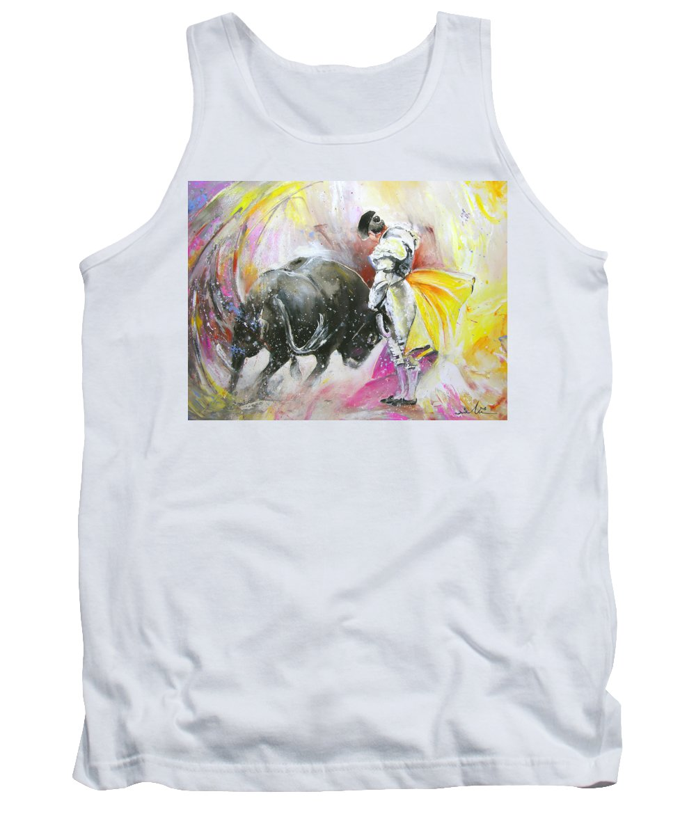Animals Tank Top featuring the painting Taurean Power by Miki De Goodaboom