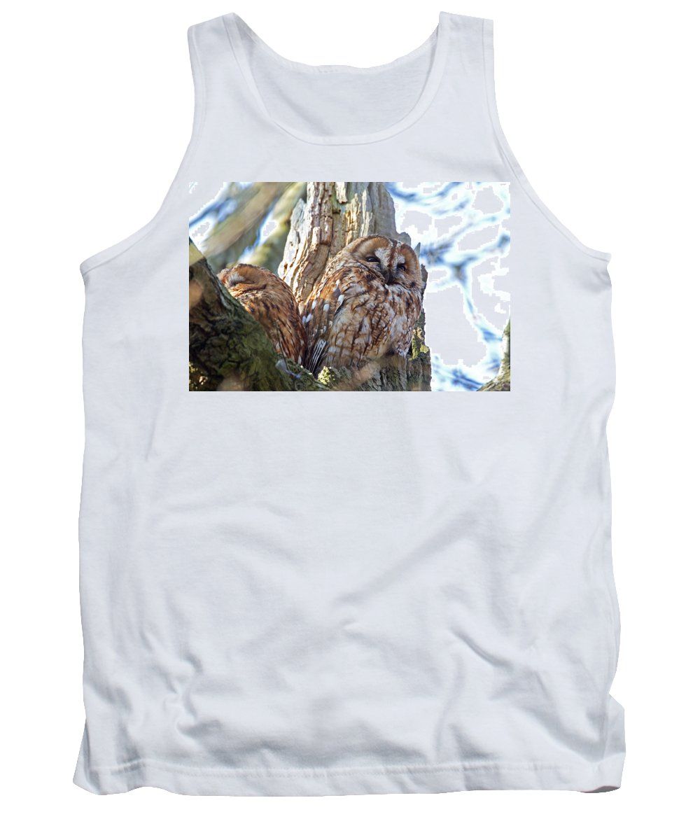 Tawny Owl Tank Top featuring the photograph Tawny Owls by Bob Kemp