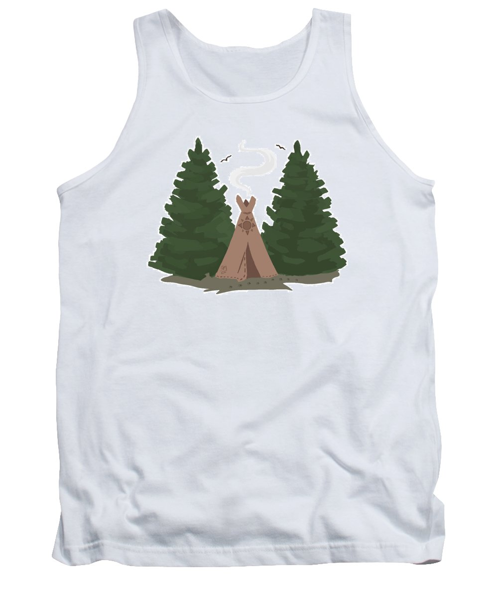 Teepee Tank Top featuring the digital art Teepee In The Woods by Brandy Woods
