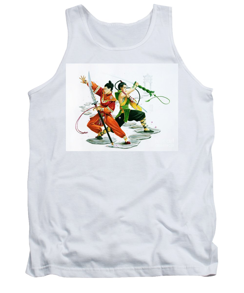 Oriental Tank Top featuring the painting Tenryuu and Xien by Melissa A Benson