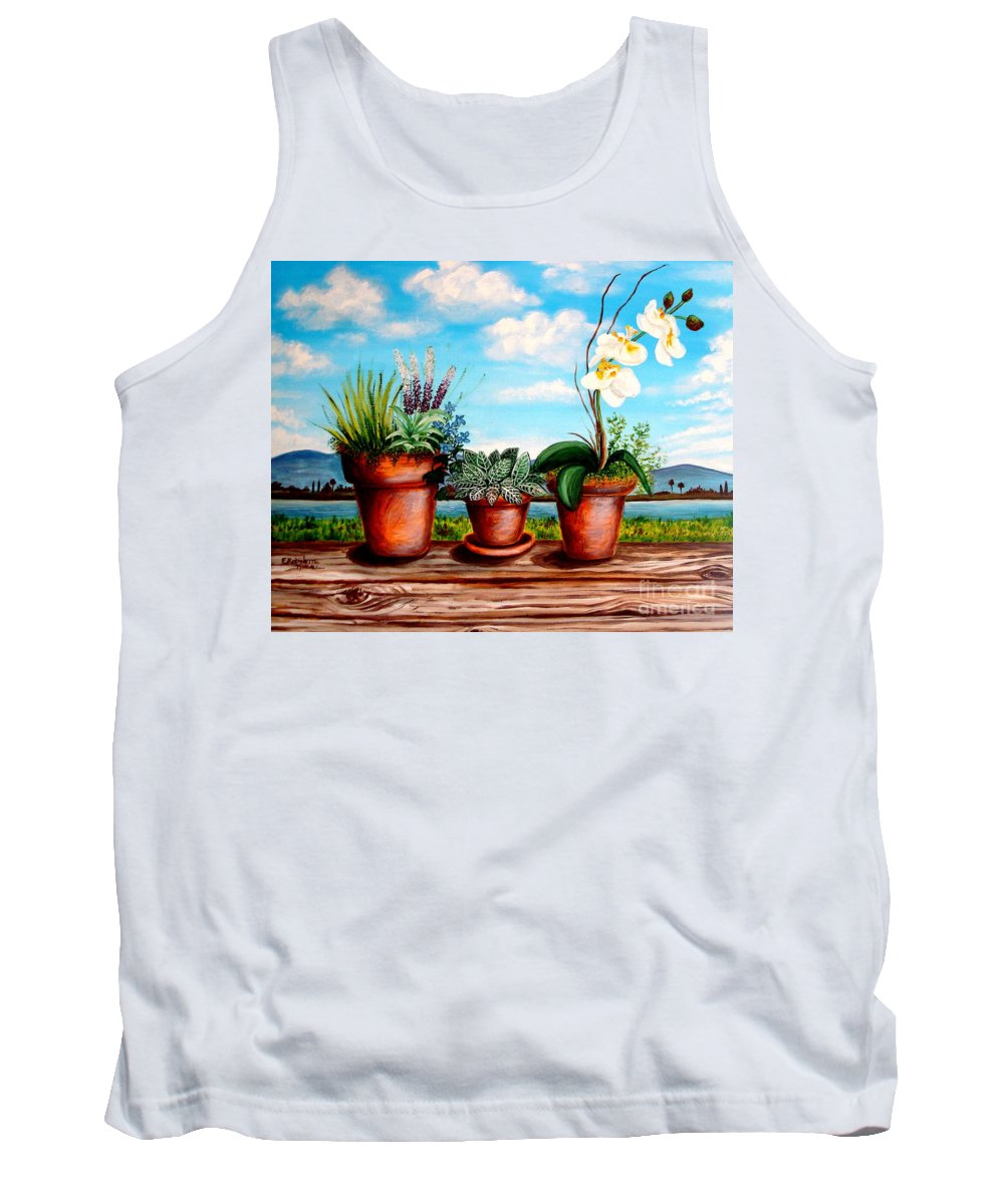 Landscape Tank Top featuring the painting Terra Cotta Blues by Elizabeth Robinette Tyndall