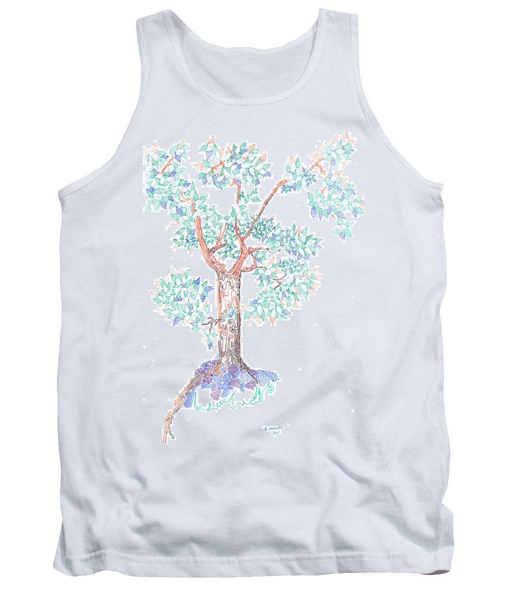 By Hand Tank Top featuring the drawing Tesselated Tree by Regina Valluzzi