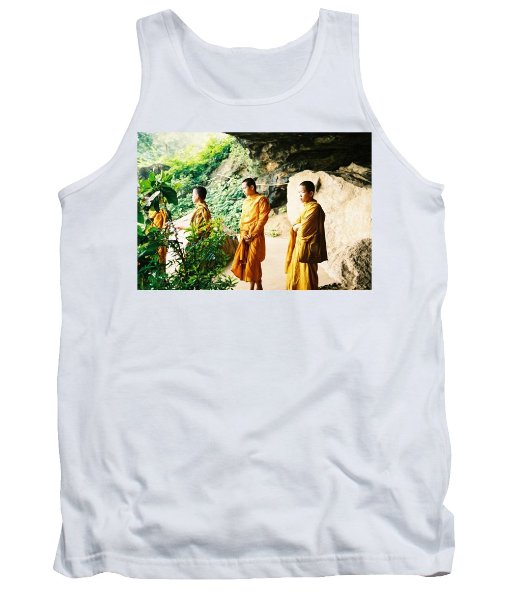 Monks Tank Top featuring the photograph Thai Monks by Mary Rogers